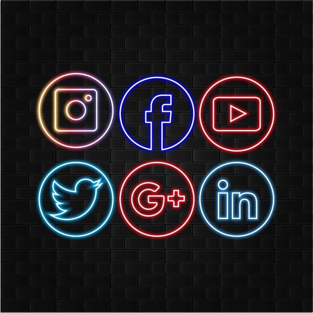 Social Media Logos Neon Style With Black Brick Wall Background Social Media Logos Neon Neon Logo