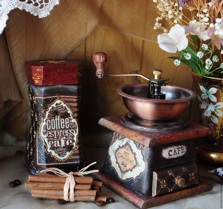 """Купить Набор для кофе""""Шоколадное настроение"""" - коричневый, кофе, кофейный, кофейные зерна, кофемолка, банка для кофе"""