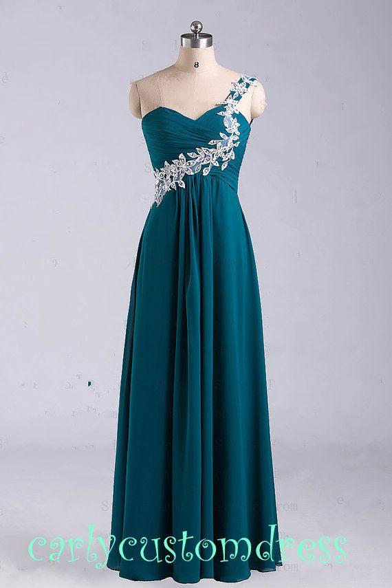 Long Green Lace Prom Dress/Long Beaded Bridesmaid Dress/Red Grey Black Chiffon Evening Dress/Homecoming Dress/Graduation Dress/Formal Dress