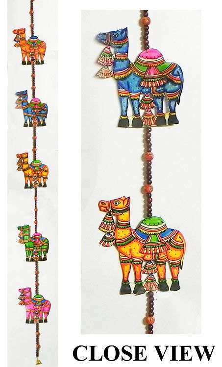 Hand Painted Hanging Camels with Beads - Perforated Leather Crafts from Andhra Pradesh (Leather))