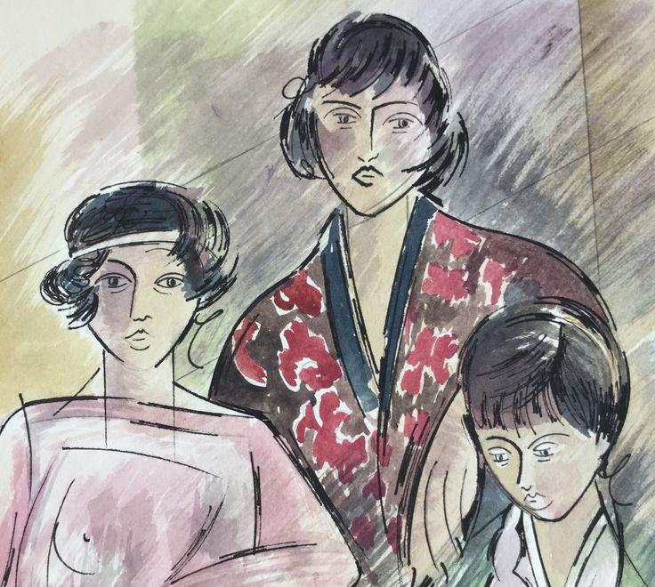 Tres mujeres. Acuarela-Fina Fuertes