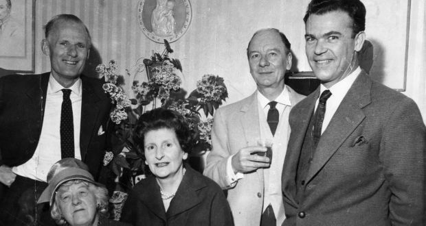 At Dublin's Olympia Theatre for the launch of Dazzling Prospect were, from left, Margaret Rutherford, and playwright Molly Keane. Standing, from left, are John Perry, Sir John Gielgud and Richard Leech. Photograph: Dermot Barry