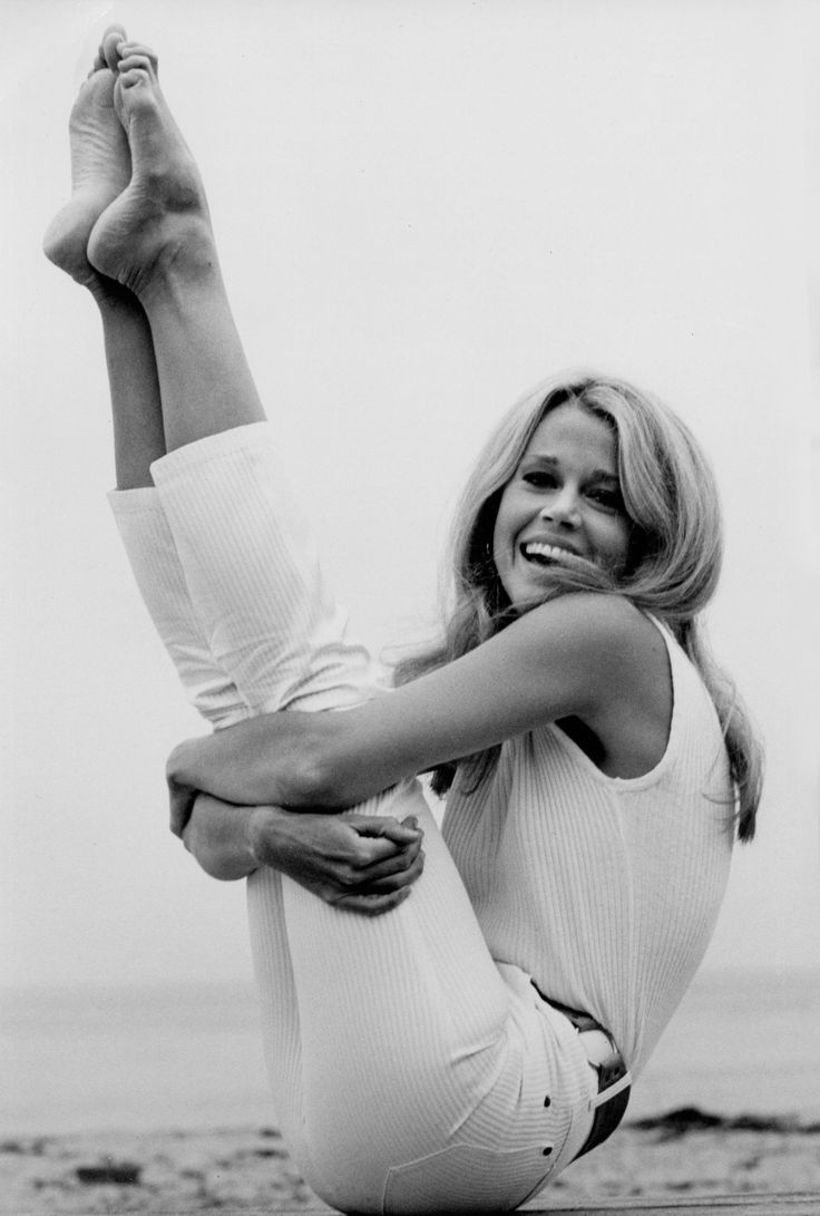 Jane Fonda - the original fitness guru Loved and Pinned by www.downdogboutique.com to our Yoga community boards