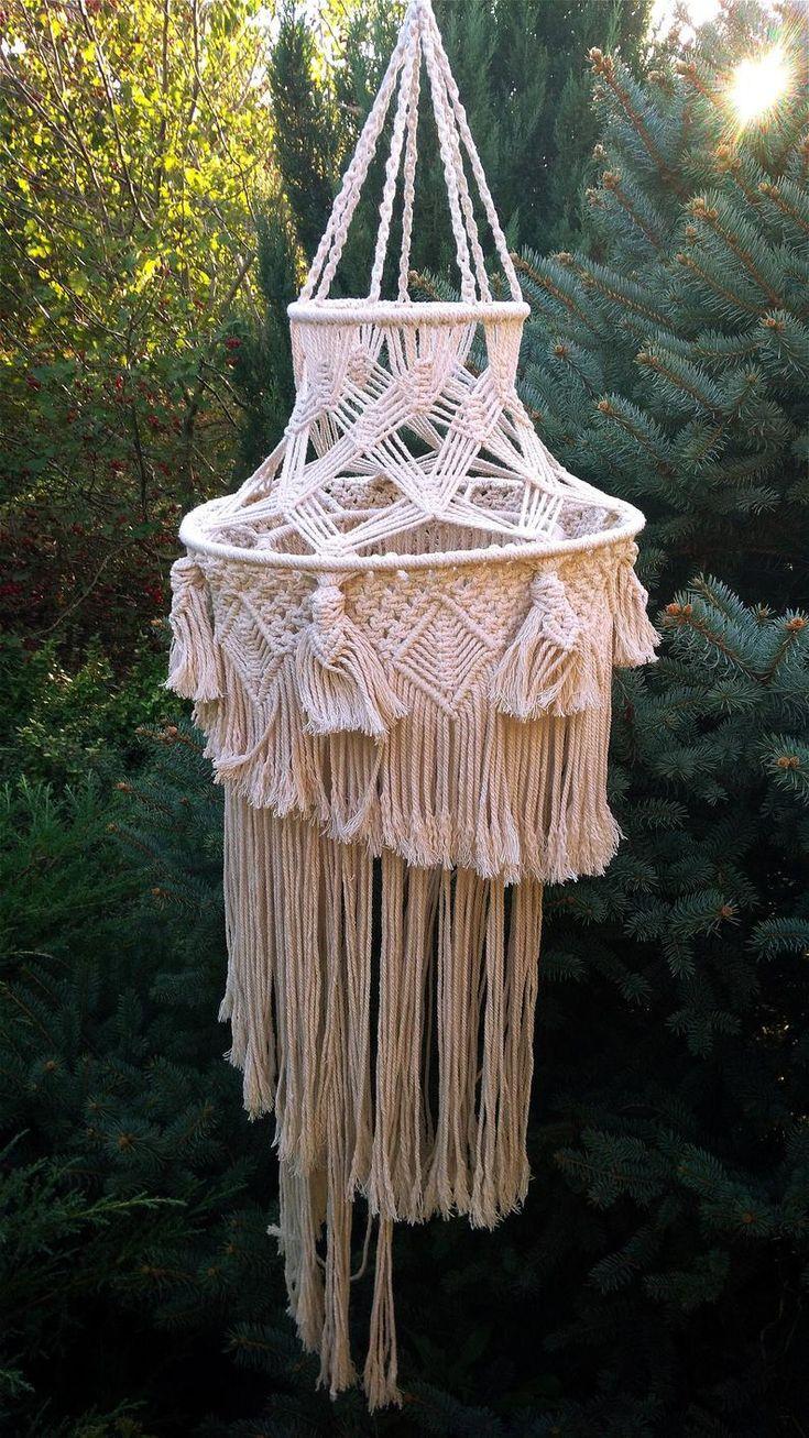 Decorative handmade bohemian macrame lampschandeliers