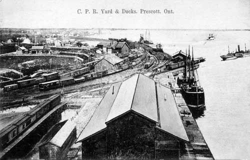 PRESCOTT, Ontario - Canadian Pacific Railway Yards, station, and Roundhouses connecting to shipping along the St Lawrence River.