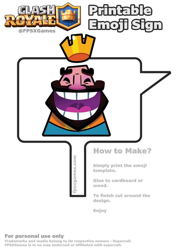 Printable Clash Royale laughing emoji sign