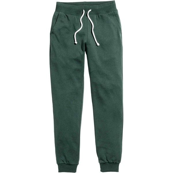 Sweatpants ($12) ❤ liked on Polyvore featuring activewear, activewear pants, green sweat pants, sweat pants and green sweatpants