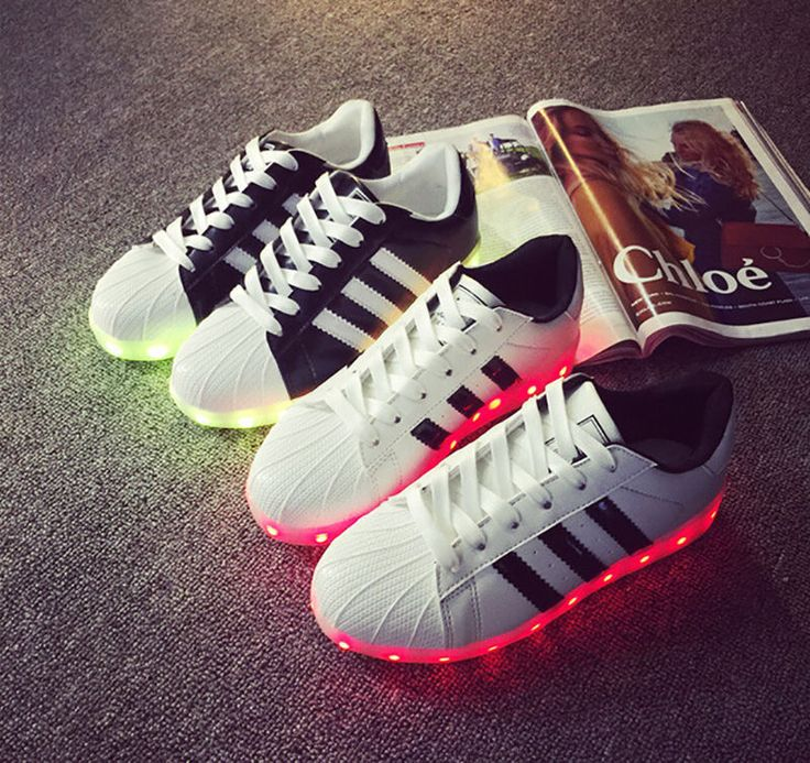 Fashion LED Light USB Lace Up Sneaker Sportswear Striped Luminous Casual Shoes #NEW