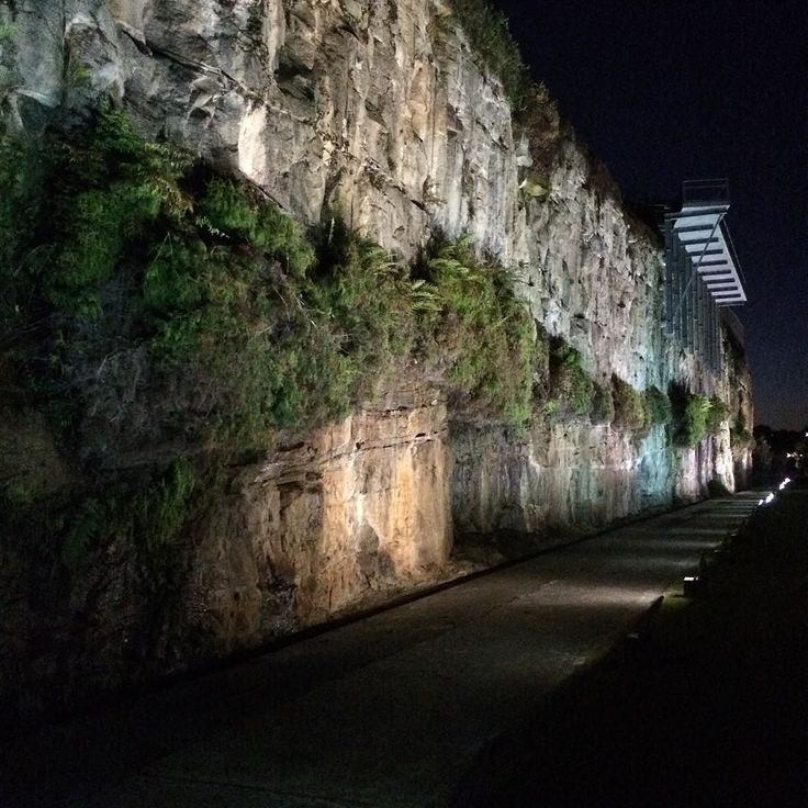Wall of sandstone at night (no witty caption) - #cockatooisland #night #wallofsandstone #wall #sandstone #sydney #shadow