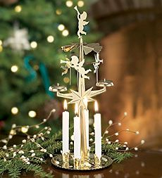 Wow - this really brought back childhood memories for me!  My grandfather had one of these, and we looked forward to lighting the candles and watching the angels spin every year.