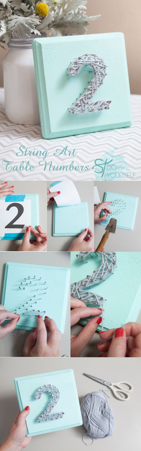 diy string art wedding table number ideas
