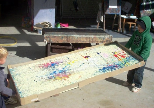 let the children play: super sized marble paintings