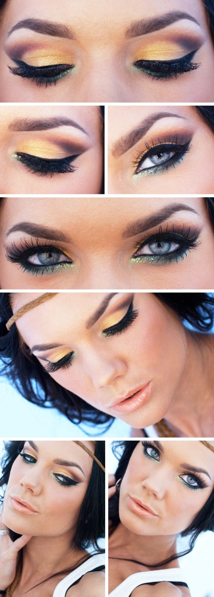 Todays Look I Lost Myself Forever In Your Eyes -Linda Hallberg (a gorgeous summer look of yellow, peach, browns with a splash of soft teal) 03/18/13