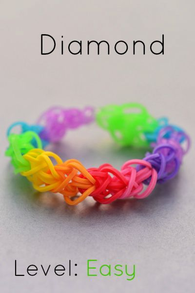 How to Make a Diamond Loom Bracelet. This is a super cute and EASY rainbow loom bracelet!