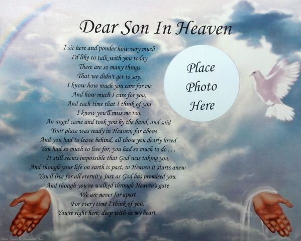 remembrance poems death | Dear Son in Heaven Memorial Poem Gift Loss of A Beloved Son ...