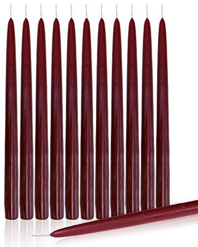 """Dripless Taper Candles 10"""" Inch Tall Wedding Dinner Candle Set Of 12 (BURGUNDY) Wine Red Maroon"""