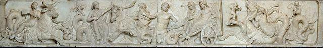 Ara di Domizio Enobarbo - 113 a.C. - bassorilievo su marmo - da Campo Marzio, Roma - Gliptoteca di Monaco di Baviera, Germania.