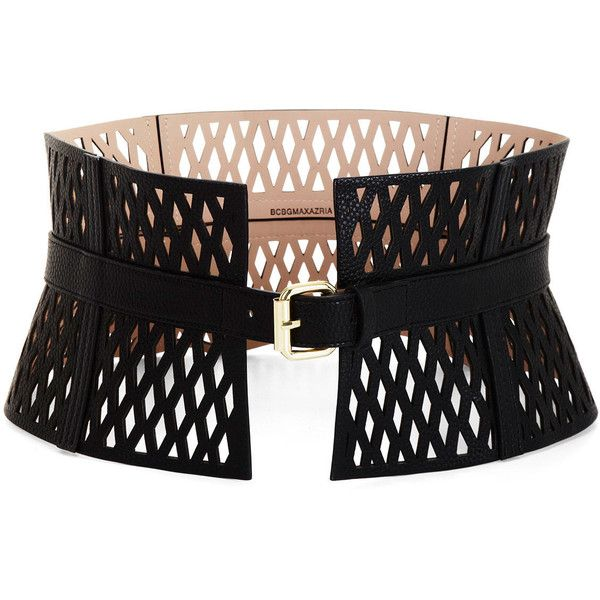 BCBG Cutout Faux-Leather Corset Waist Belt (£79) ❤ liked on Polyvore featuring accessories, belts, black, vegan belt, waist belt, black belt, black waist belt y faux leather belt