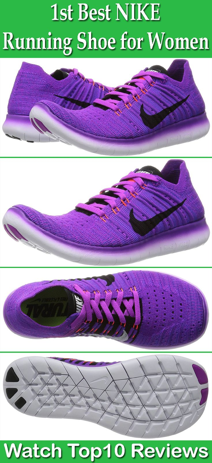 Nike Women's Free Rn Flyknit Running Shoe: Nike Women's Free Rn Flyknit Running Shoe is the first best nike running shoe in our list. It promises to provide a best running experience like no other. Its Flyknit technology wraps the foot for a secured fit and reduce foot slippage.