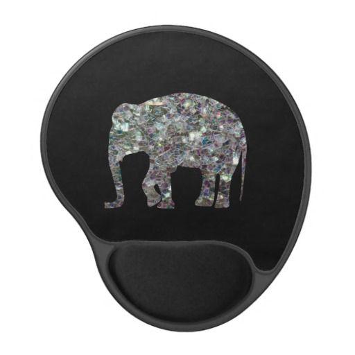 SOLD! Silver mosaic #Elephant Gel Mouse Pad by #PLdesign #SilverMosaic #ElephantGift #SparklesMousePad