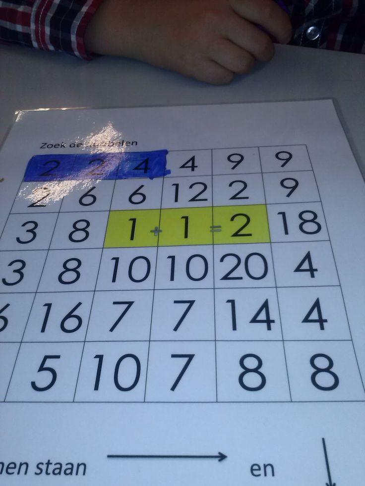 Bij dit werkblad zoeken de kinderen de dubbelen sommen. Ze kleuren steeds de 3 getallen die bij elkaar horen in. WERKBLAD