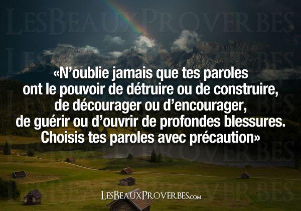 Les Beaux Proverbes – Proverbes, citations et pensées positives » » Avec précaution