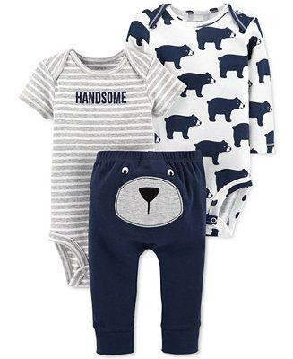 816fb890d2 Shop Carter s Baby Boys 3-Pc. Handsome Bear Cotton Bodysuits   Pants Set  online at Macys.com. So comfy and convenient