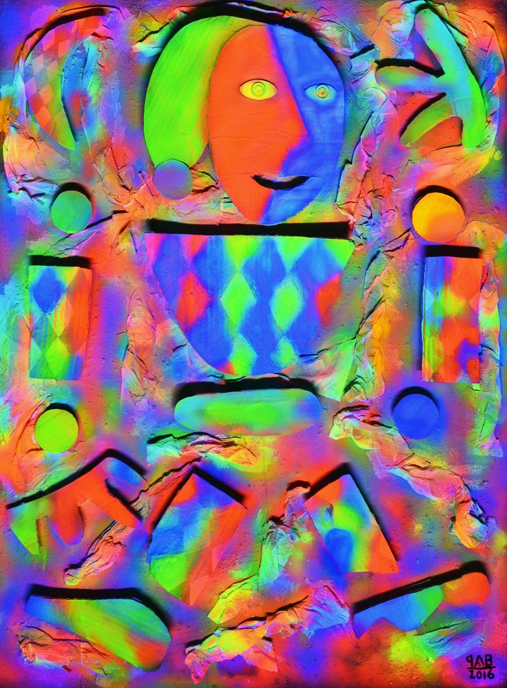 Payaso Rompecabezas Neón / Neon Puzzle Clown Light On 2016 105 x 78 cm Técnicas mixtas / Mixed techniques