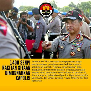 Jajaran Polda Sumatera Selatan (Sumsel) berhasil menyita 1400 senjata api