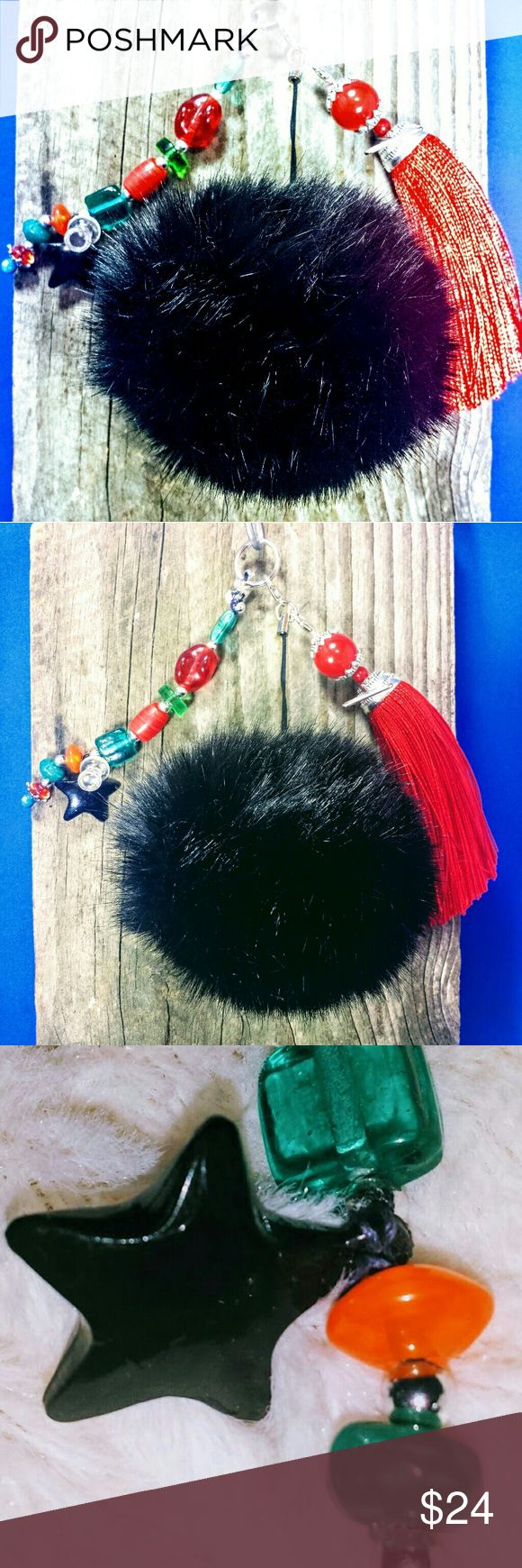 XL Designer Pompom: Black Fur & Italian Glass Work XL Designer Statement PomPom Furball Handbag Charm Keyring Charm with hand selected silver findings, italian glass beadwork in ruby, seaglass,aqua, coral, and a black star with 5 inch Ruby Red tassle to make for the most luxurious PomPom I offer - Black (8cm) #pompom #bagcharm #keyring #gift #gucci #kylie Accessories Key & Card Holders