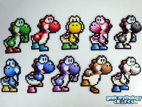 Yoshi  Super Mario World 2  Perler Bead by Geek Mythology Crafts, $8.00