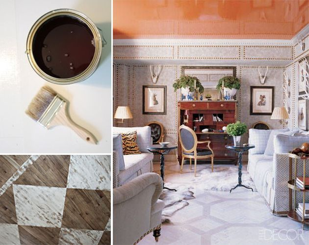 Orange ceiling paint, glossy ceiling, painted ceiling, painted floor, salmon paint color, geometric floor pattern, painted geometric floor