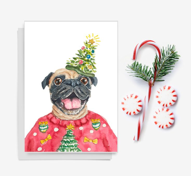 Dog Christmas Card Pug Watercolor Holiday Card by WaterInMyPaint