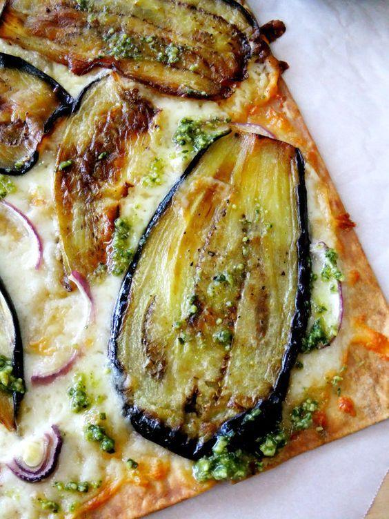 flatbread pizza with eggplant