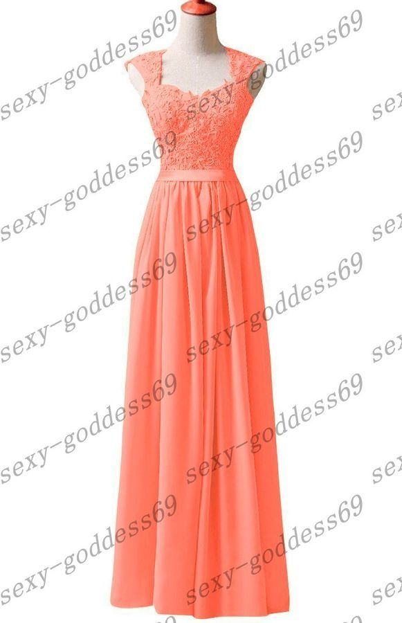 e6f82d9606de Long Chiffon Lace Evening Formal Party Ball Gown Prom Bridesmaid Dress Size  6~22 Evening Formal Party