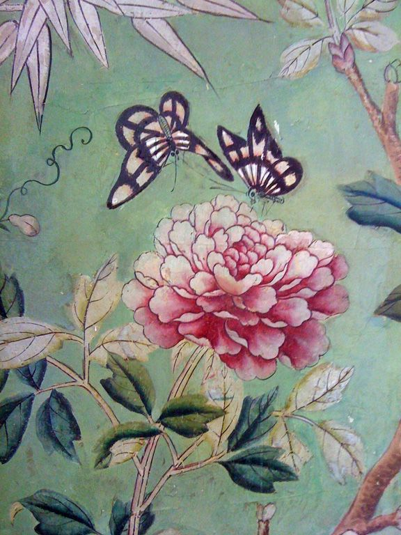 Hand painted with gouache on paper-backed silk, Chinese wallpaper panels