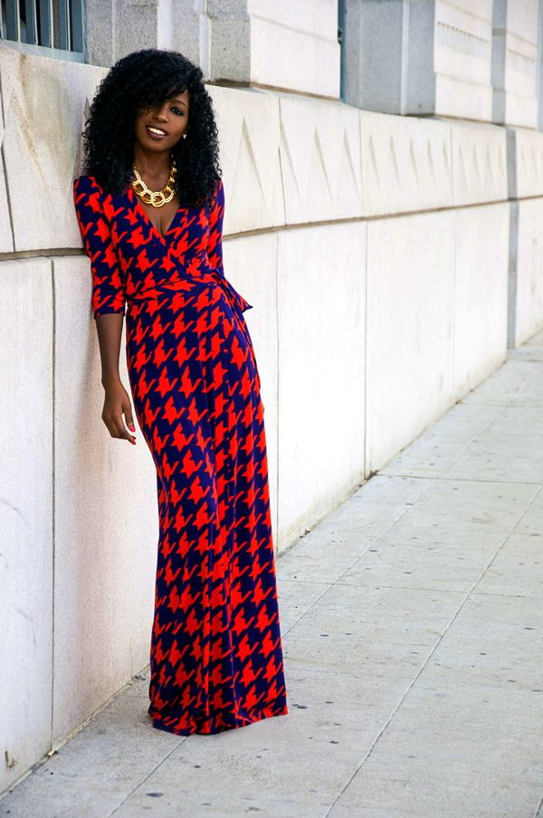 Houndstooth Wrap Maxi Dress | style pantry