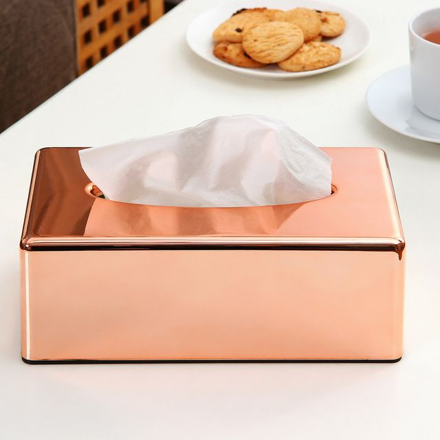 9,99€ - 2016 New Elegant Royal Rose Gold Car Home Rectangle Shaped Tissue Case Box Container Towel Napkin Tissue Box Holder - Orange Life