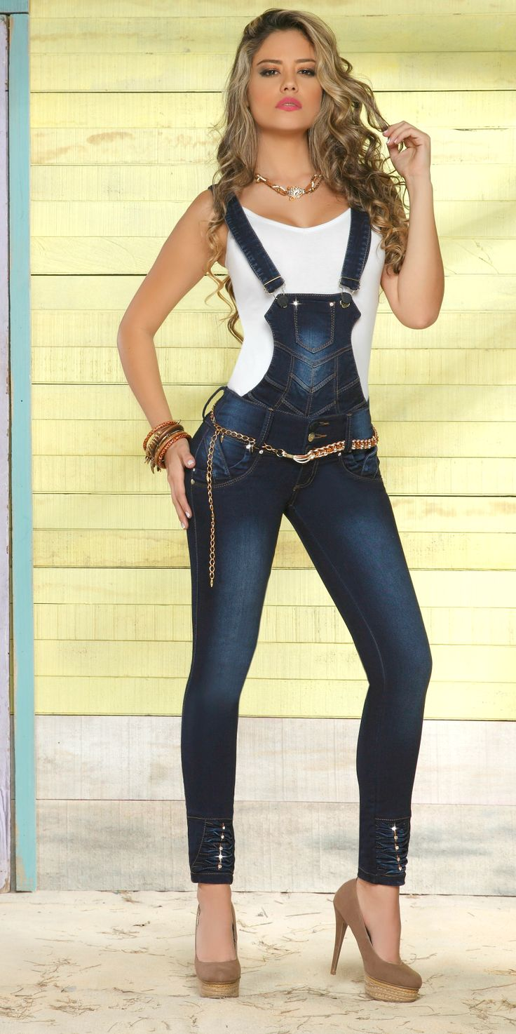 Gem Denim Sexy Fitted #overalls  Hand crafted Diamonds- Made in Colombia  Enterizos #Colombianjeans www.florkantuta.com