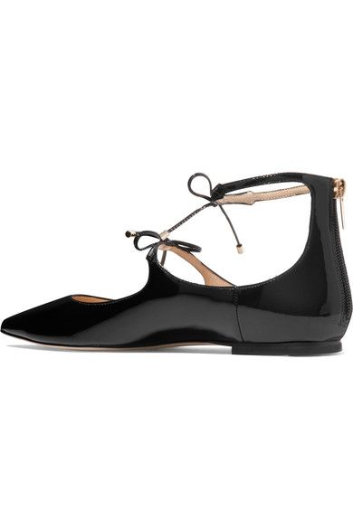 Jimmy Choo - Sage Patent-leather Point-toe Flats - Black - IT40.5
