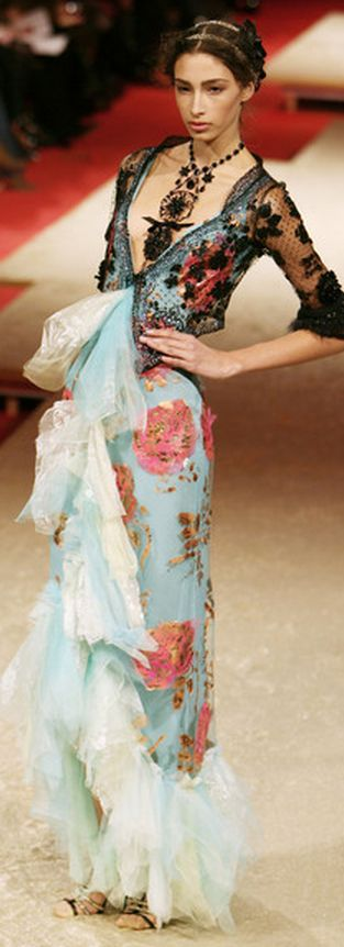 Christian Lacroix Couture Spring 2006, I like the whole thing except the filmy stuff gushing out the front.