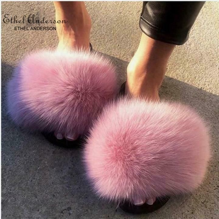 b577c6af1b8e7 Ethel Anderson Real Fox Fur Slippers Crazy Sale Fur Casual Slides ...