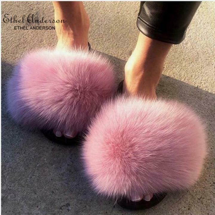 b0d4eefc7c627 Ethel Anderson Real Fox Fur Slippers Crazy Sale Fur Casual Slides ...