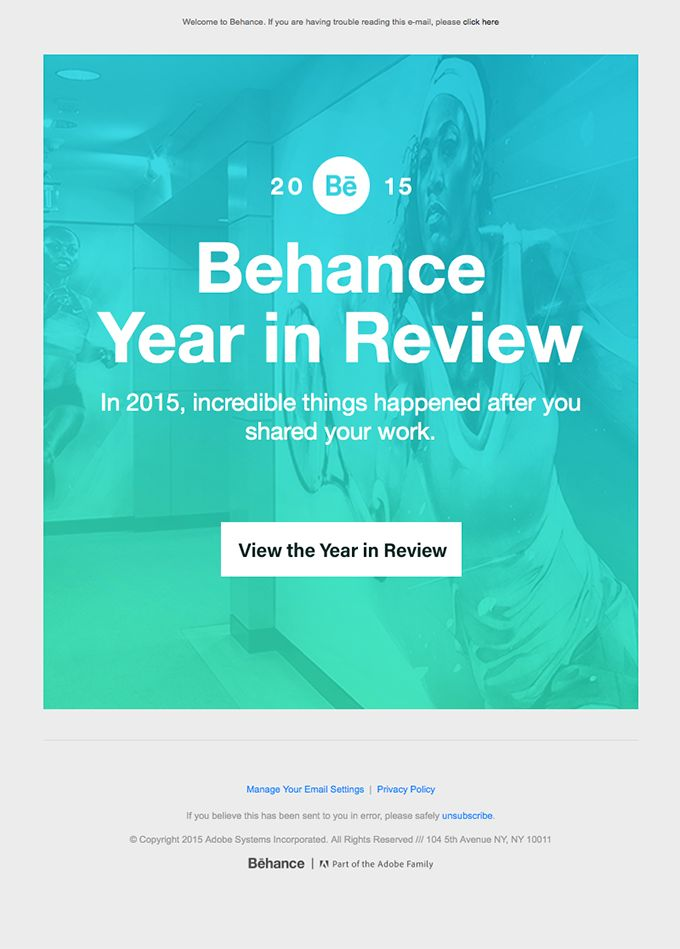 Behance Year In Review: Creativity in 2015 - Really Good Emails