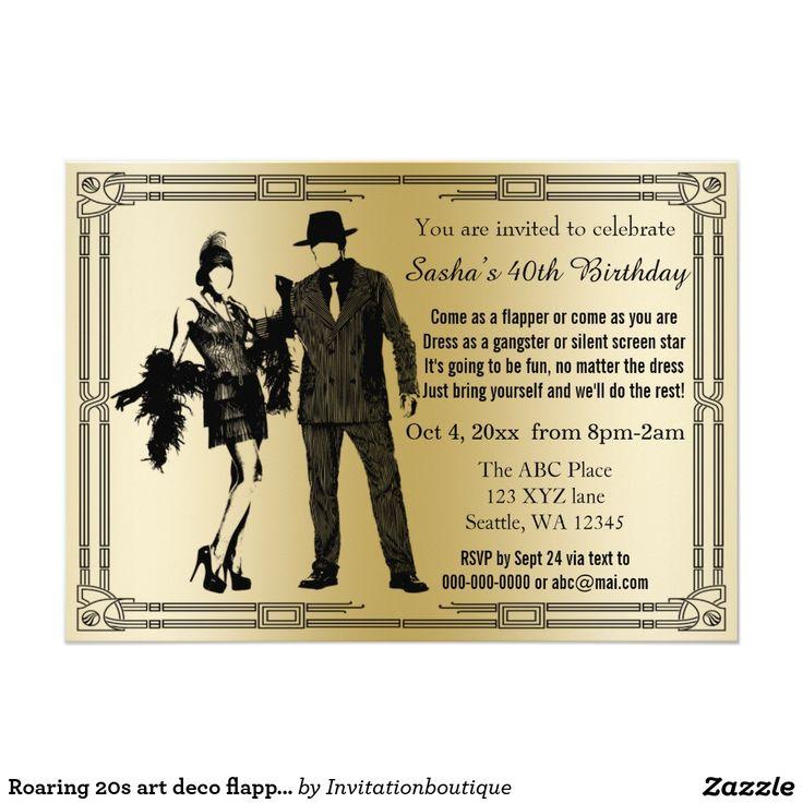 Roaring 20s art deco flapper girl and gangster invitation ...