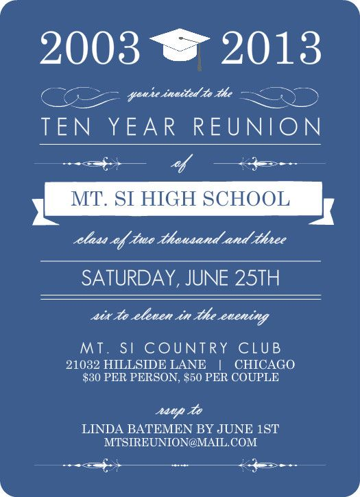 9 best high school reunion invitaions images on pinterest class blue banner class reunion invitation stopboris Choice Image