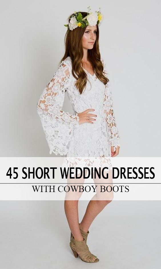 Lace Butterfly Sleeves Comfy Short Wedding Dress, Country & Bohemian Style