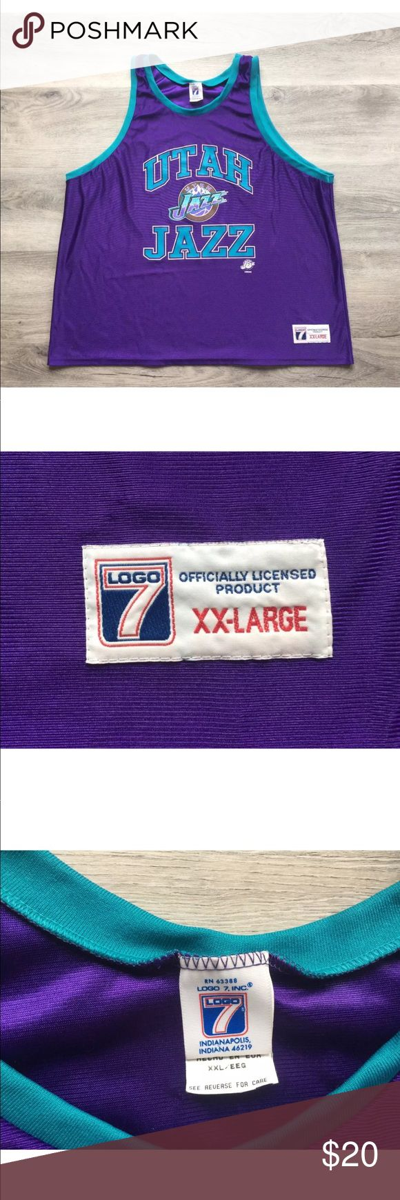 """Utah Jazz Vintage 1990's Logo 7 Men's 2XL Jersey Brand:   Logo 7 Condition:   Previously Worn - Great Condition!!! Item Specifics:  Utah Jazz, Logo 7, Karl Malone, John Stockton, Jerry Sloan, Jeff Hornacek, Vintage, 1990's, 90's Material:  100% Polyester Color:   Utah Jazz Purple Size: Adult Men's 2XL (See Measurements For Specifics)  Please Remember all Clothing Items may fit differently depending on Brand, Fit, Use or Prior customization.   Measurements:  Pit to Pit (Across Chest): 24""""…"""