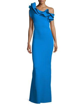 Elisse One-Shoulder Ruffle Mermaid Gown, Blue Notee  by La Petite Robe di Chiara Boni at Neiman Marcus.