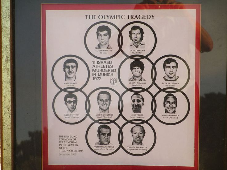 Image of the Munich Massacre victims including 11 Israeli Athletes and 1 German Police Officer. Moshe Weinberg: wrestling coach Yosef Romano: weightlifter Zee's Friedman: weightlifter David Berger: weightlifter Yakov Springer: weightlifting judge Eliezer Halfin: wrestler Yosef Gutfreund: wrestling referee Chat Shorr: shooting coach Mark Slavin: wrestler Andre Spitzer: fencing coach Amateur Shapira: track coach Anton Fliegerbauer : West German police officer
